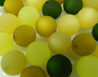 24 original Polaris beads 10 mm MIX green Olive Khaki color mix beaded mix of Polaris