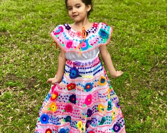 4eb6a33c810 Mexican Chiapaneca Dress for Babies and Girls Handmade Embroidered White  with Multicolor Floral Embroidery Gala Party Gown Chiapas Dresses