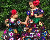 Mexican Chiapaneca Dress for Babies and Girls Handmade Embroidered Black with Multicolor Floral Embroidery Gala Party Gown Chiapas Dresses