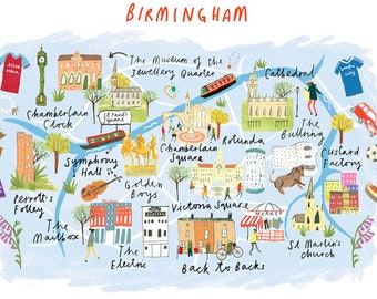 Map Of Uk Birmingham.Birmingham Map Etsy