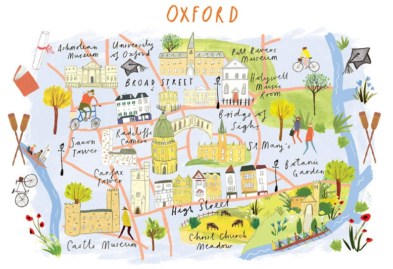 Map Of Uk Oxford.Miniature Map Of Oxford Uk 5 X 7inches