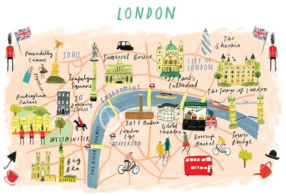 Londra Cartina.Mappa Di Londra Etsy