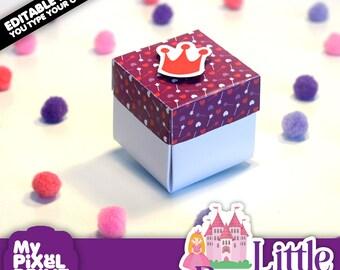 Little Princess Invitation DIY Birthday Box Cube Invitations Square Editable PDF