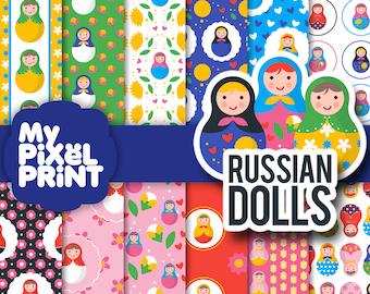 Russian Dolls - Matryoshka Dolls Russian Nesting Dolls Russia Pattern Flowers Hearts Toys - Digital Scrapbooking Paper Pack - My Pixel Print