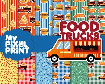 Food Trucks - Pizza Hot dogs Burgers Fast Food Tailgate Party Celebration Comfort Food Tailgating Pattern - Digital Scrapbooking Paper Pack