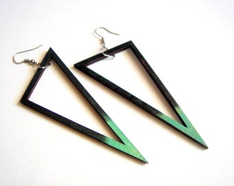 Geometric Earrings , Wood Triangles Earrings,Geometric Jewelry