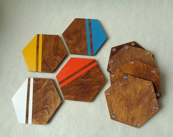 Hexagon Coasters, One coaster or Set of 2, 4, 6, 8 Coasters, Drink Coasters, Neon Geometric Coasters, Hexagon Wood Coasters