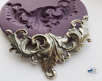 Large Art Nouveau Scrolling Leaves Mold/Mould - Victorian Scrollwork Flourish - Silicone Molds - Polymer Clay Resin Fondant