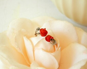 Coral Carved Ring, Vintage Ring, Coral Ring Flower, Real Coral Ring