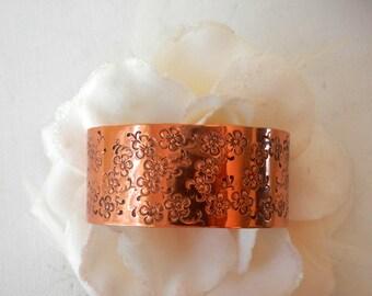Copper Cuff Bracelet, Cherry Blossom Bracelet, Copper Jewelry