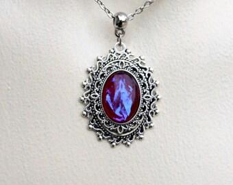 Silver dragon breath opal necklace pendant