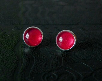 Red gothic stud earrings