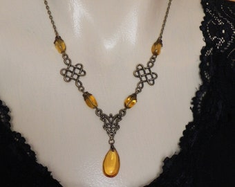 bronze and amber brown necklace