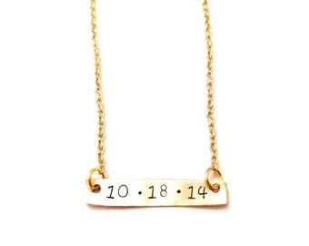 "Custom ""Date"" Bar Necklace"