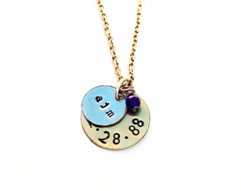 Layered Initial Hand-Stamped Necklace (Gold and Silver Disc)