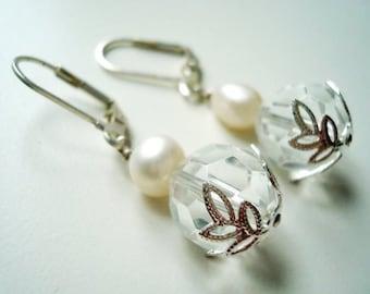 Beautiful Crystal and Freshwater Pearl Earrings