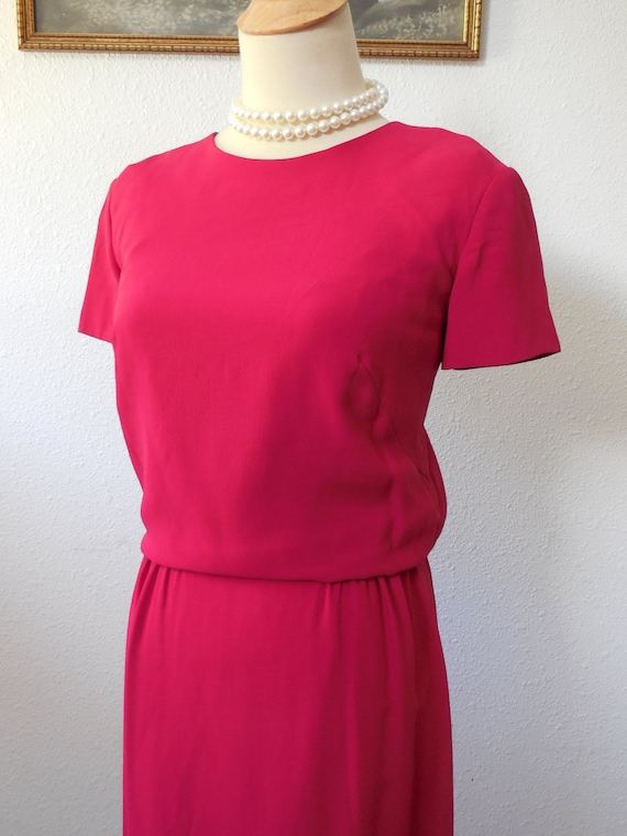 Vintage late 50s Red Raspberry Day Dress Medium 36