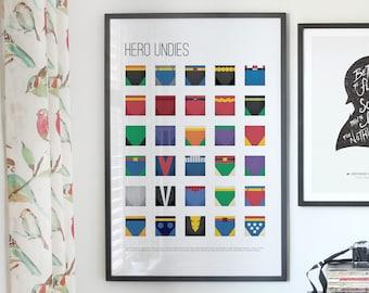 Hero Undies - Superhero Underwear, Kid Poster gift idea, minimalist poster