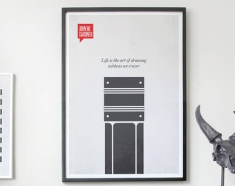 Poster Quote, Literary Quote, Art Print, Minimalist Poster, Quote, Illustration, Minimalist Quotation Print - John W. Gardner