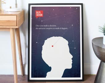 Poster Quote, Literary Quote, Minimalist Poster, Quote, Illustration, COLOR - Minimalist Quotation Print - Ralph Waldo Emerson
