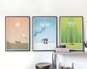Star Wars Trilogy Posters - Own All 3 and SAVE, Star wars New Hope, Empire Strikes Back, Return of the Jedi.