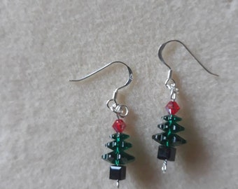 Hand made  swarovski crystal beaded christmas trees on sterling silver wires