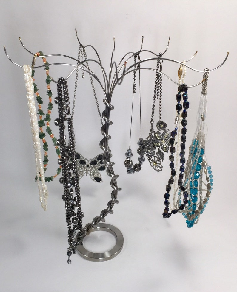 12\u2019 Stainless steel Jewelry Tree Handmade from up-cycled stainless scrap .