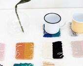 CUSTOM mug rugs - color block design - sets of 2