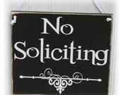 No Soliciting Sign with Scrollwork