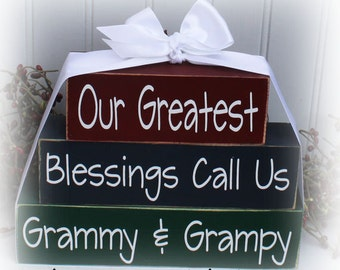 Custom Our Greatest Blessings Call Us Grammy & Grampy Wood Blocks