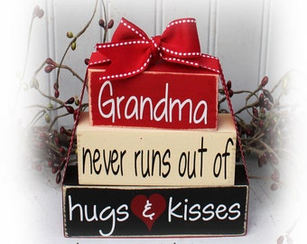 Grandma Never Runs Out Of Hugs and Kisses Itty Bitty Wood Stacker Blocks