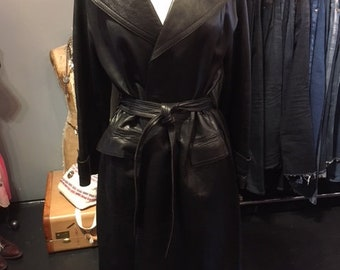 Maxi Black Leather Trench Coat