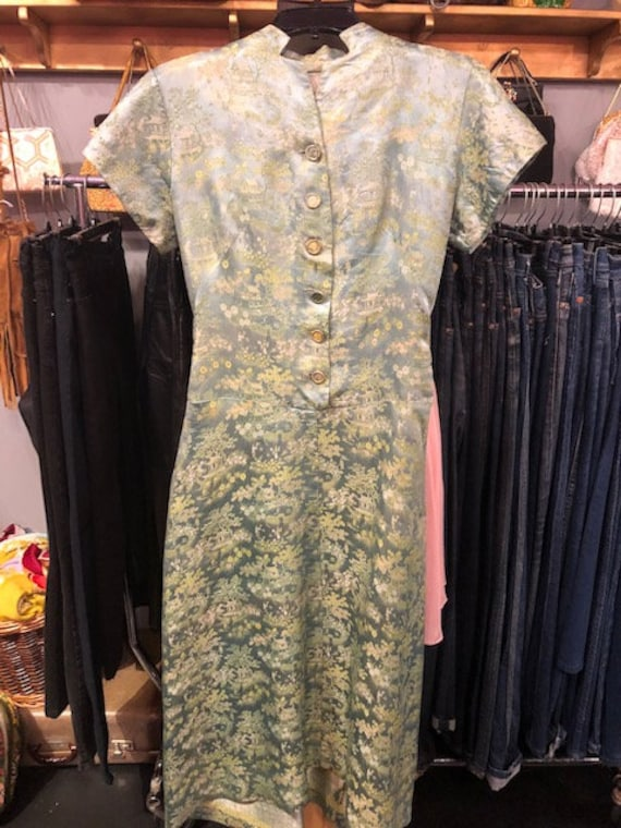 Green Asian Style Gown 1950's