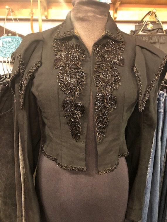 Victorian Black Beaded peplum Jacket