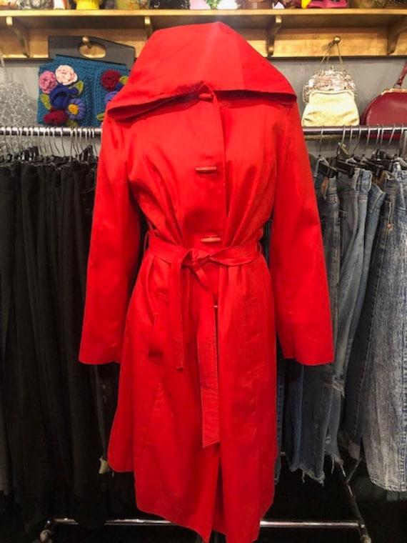 Red Rain Coat With Hood