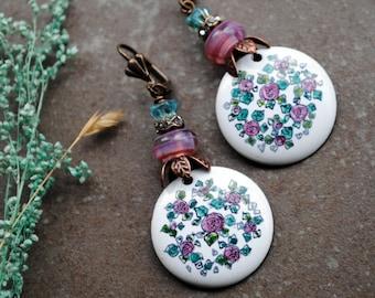 Flower earrings, Enameled Copper Earrings, Artisan Rustic Earrings, Lampwork earrings, Long Dangle Earrings, Fantasy earrings, Bohemian