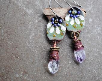 Raw Amethyst, Enameled Copper Earrings, Artisan Rustic Earrings, Boho earrings, Long Dangle Earrings, Poetic Bohemian earrings, Flower