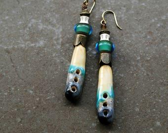 Artisan Ceramic Earrings, Handmade earrings, Primitive earrings, Gypsy Earrings, Bohemian earrings, boho jewelry, rustic earrings, Lampwork