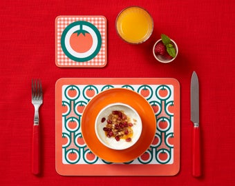 Tomatoes pattern melamine placemat coaster set
