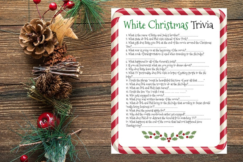 image about Christmas Movie Trivia Printable titled Printable White Xmas Video Trivia, Xmas Celebration Sport, Unattractive Sweater Xmas Get together