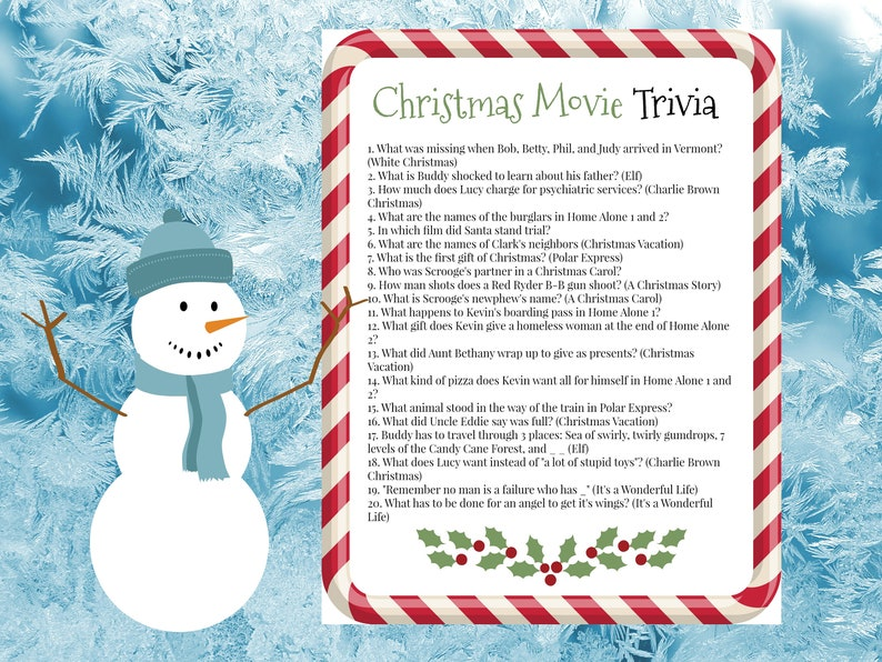 Christmas Movie Trivia Game, 1st installment, Home Alone, Elf, It's a  Wonderful Life, A Christmas Story,