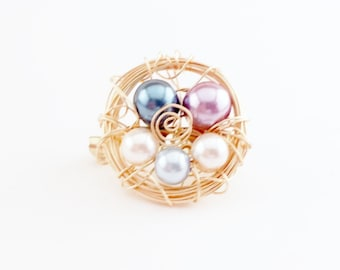 Custom Family Bird Nest Brooch, Family Nest Gifts, Glass Beads in Your Choice of Colors