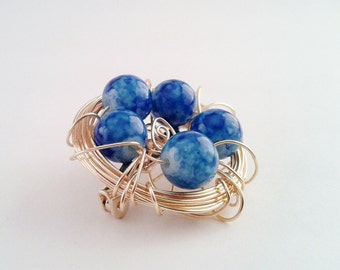 Bird Nest Brooch, 5 Blue Glass Beads in a Gold Wire Nest