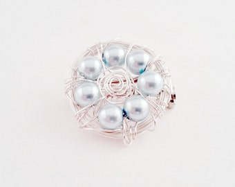 Blue and Silver Bird Nest Brooch, 7 Light Blue Glass Beads in a Silver Wire Nest