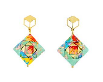 MOSAIC / 925er Silver or Nickel free Brass Origami earrings, high quality Japanese paper, water resistant, Silver Gold,Gift for Her,Ohrringe
