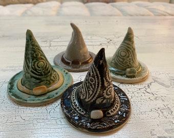 Handmade ceramic pottery witch hat