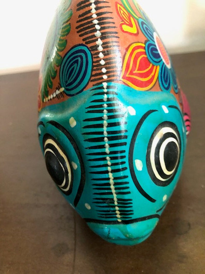 Mexican Folk Art Pottery Fish Mexican Pottery Fish Mexican Handpainted Pottery Fish Mexican Folk Art Fish Fish Mexcian Folk Pottery