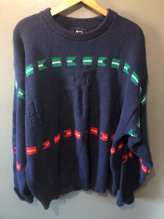 1960s Vintage Woolrich Nautical Theme Pullover Jum
