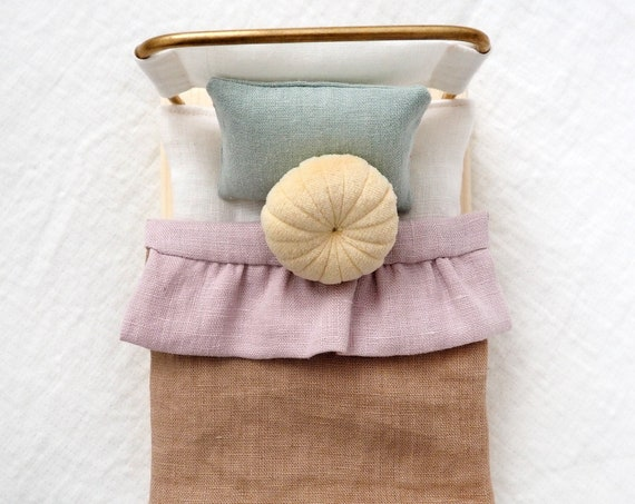 Bed for micro Cerise handmade bed brass wood linen dollhouse pastel colors