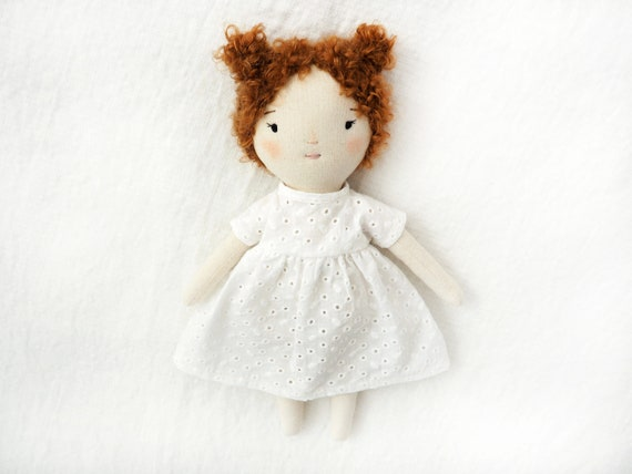 Petite doll handmade doll one of a kind floral dress long hair heirloom toy